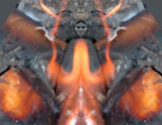 Gespiegeltes Foto eines Feuergeistes